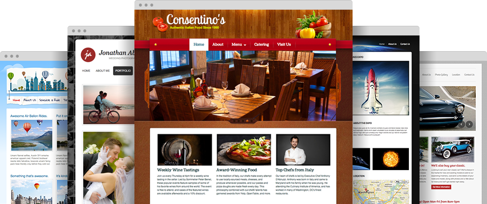 Diverse professional website themes